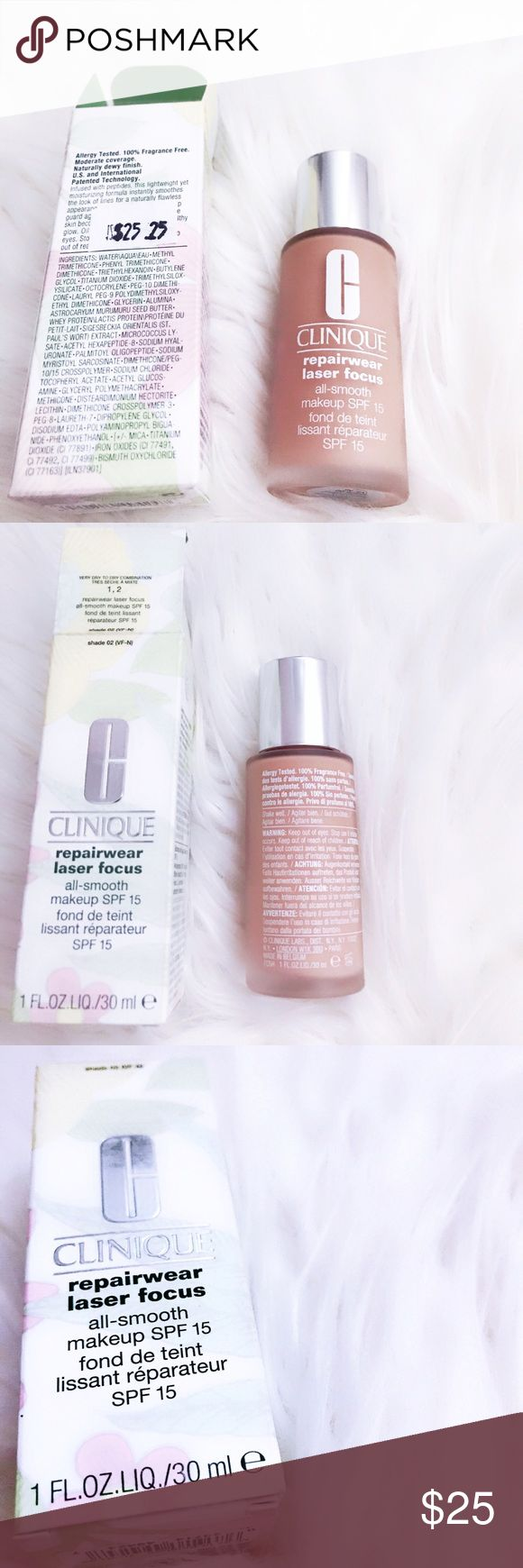Clinique repairwear laser focus foundation Brand new!✨ CLINIQUE all smooth makeup SPF 15! Repairwear laser focus! Allergy tested, 100% fragrance free! Moderate coverage, naturally dewy finish! Infused with peptides! Formula instantly smoothes the look of fine lines! For a naturally flawless appearance! Color shade 02. Fair to medium skin tones. Very dry to dry combination skin. RETAIL $25.25 offers welcome ❤️no trades thank you Clinique Makeup Foundation