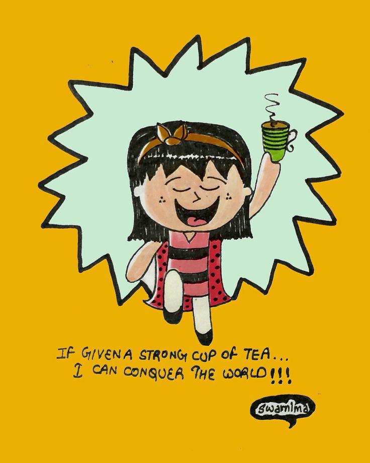 My love for tea! #illustration #doodle #girl #littlegirl #itsahappyworld #tea #tealove