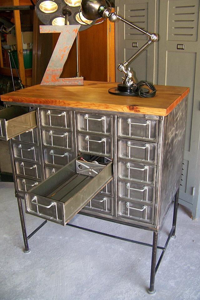 390 best industrial steel cabinets images on pinterest vintage industrial - Mobilier design industriel vintage ...