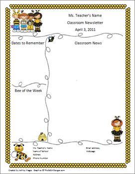 Teacher Newsletter Template - Bumble Bee Theme