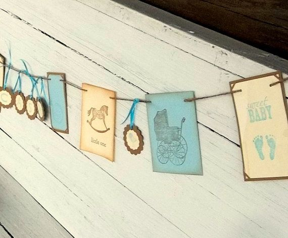 baby banner, boy bunting, baby shower, blue and brown,coffee stained vintage, rustic on Etsy, $40.00