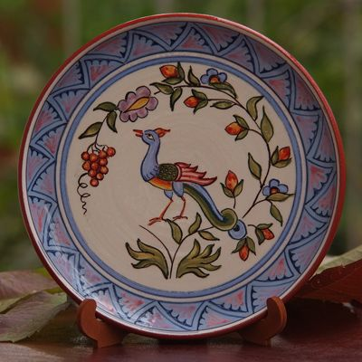 Made In Armenia Direct - This design is copied from an Armenian medieval painting. The tree illustrated in the plate is the symbol of Life Tree and the bird symbolizes the good news. The plate is hand designed and hand painted without stencils. It is made of clay & glazed.