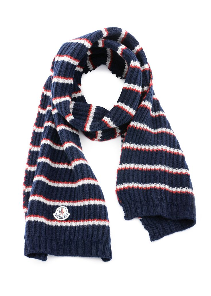 Moncler - Fall Winter 2015- Menswear // Sciarpa navy lined wool scarf
