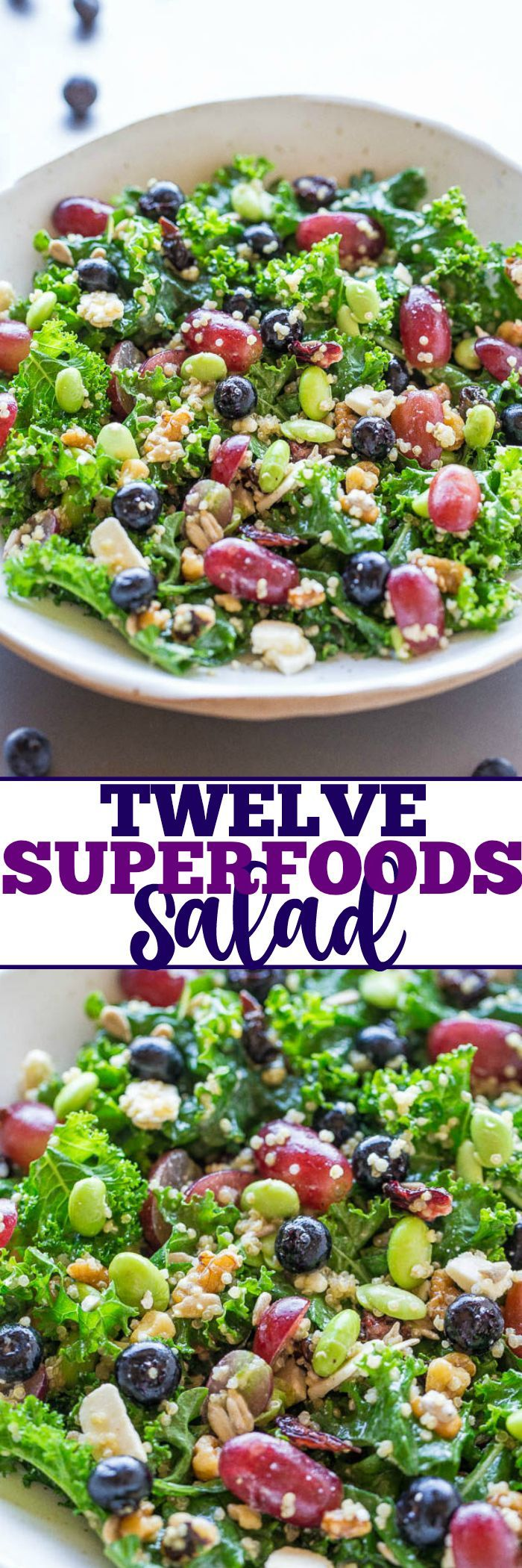 Twelve Superfoods Salad - Trying to eat healthier? MAKE THIS easy, flavorful salad!! Loaded with everything HEALTHY and it tastes awesome! Kale, quinoa, edamame, blueberries, grapes, seeds, nuts, and more!!