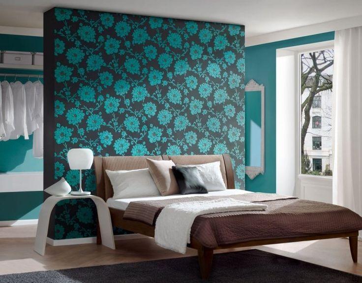 peinture murale marron motifs de fleurs en turquoise dans la chambre coucher lgante - Chambre Turquoise Et Blanche