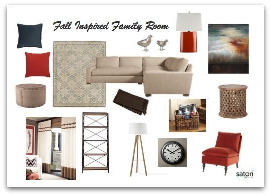 Family Room Mood Board Neutral Color Scheme With Pops Of