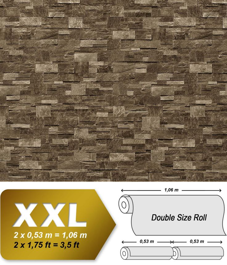 XXL Steen behang natuursteen EDEM 918-35 Vliesbehang muur optiek in reliëf donker bruin grijs | 10,65 qm