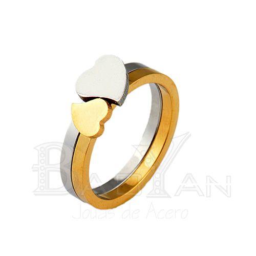 corazón anillo para pareja conjunto de dos piezas dorado y plateado en acero- US$1.48 : Bisuteria, Joyas de acero por mayor