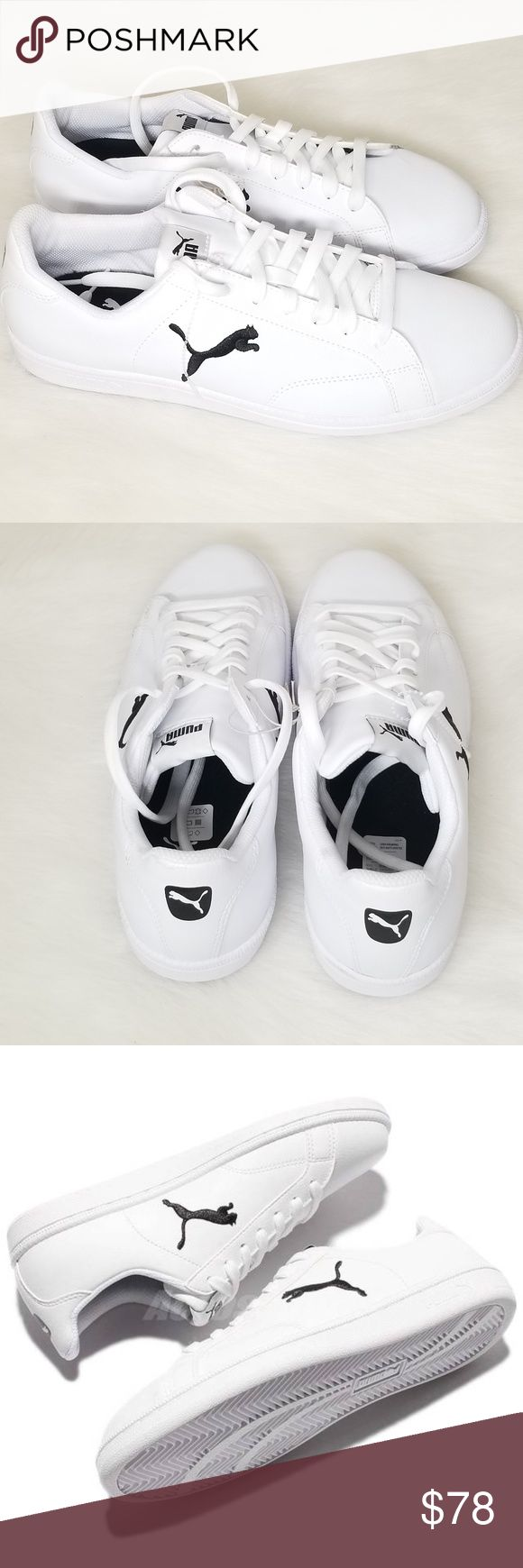 Men Puma White Black Leather Casual Sneakers Shoe Up for sale brand new ,no box Men's Puma White Black Leather Casual Sneakers Shoe .  Men Size 9.5  Color-WHite w/ Black Puma Shoes Sneakers