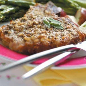 Veal Chops with Mustard-Sage Crust : AMAZING! AMAZING! these are so melt in your mouth delicious its as if angels were dancing on your tounge with each and every bite. This dish is so simple to BAKE not make you just rub it down and throw it in the oven and your good to go with what I would call better than 5 star dining, without the blow your hair back prices! :)