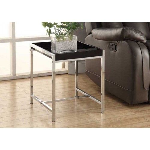 ACCENT TABLE - BLACK ACRYLIC WITH CHROME METAL