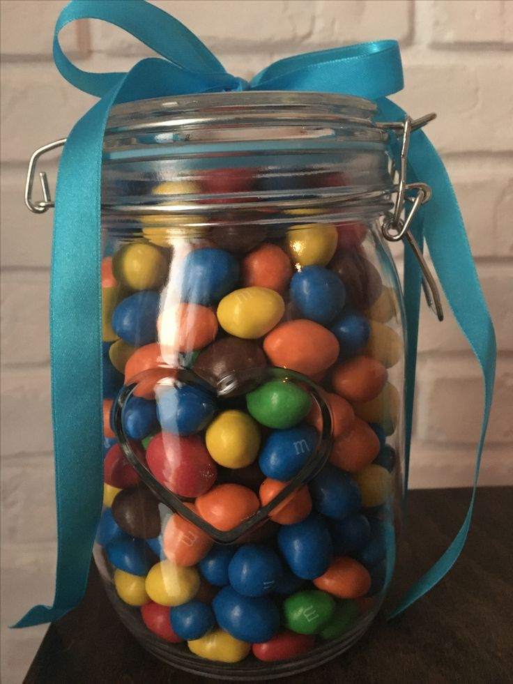 Jar and gift inside   sweet m&m and surprise