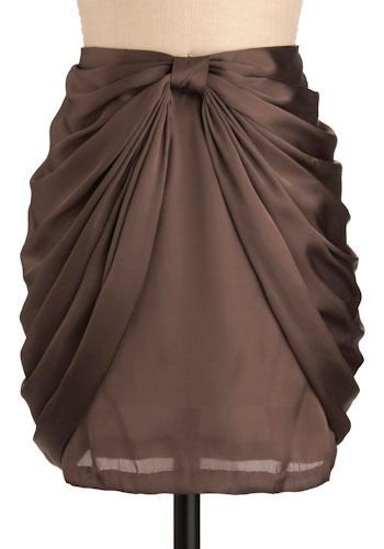 Draped skirt - looks like normal skirt with hem pulled up and gathered, then secured with a loop