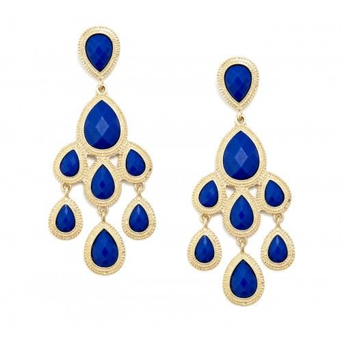 Oversized Chandelier Earring  - Cobalt