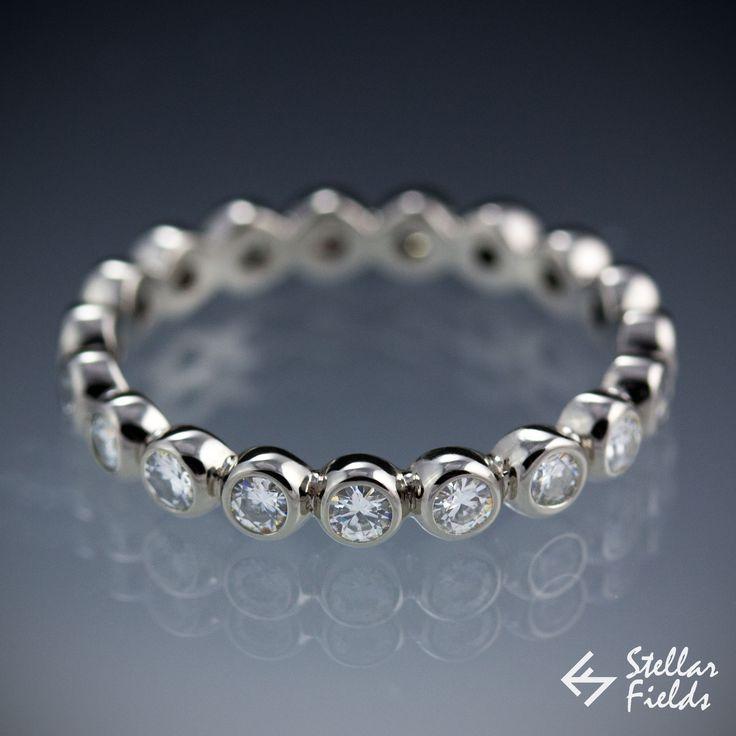 Wedding Ring , Diamond Wedding Ring , Eternity Band - Canadian Diamond Band, Bezel , Modern, Minimal , Unique - Stellar Fields Jewelry