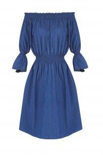 Blue off Shoulder Ruffle Split Sleeves Dress #blue #offshoulder #dress #casual #clothing #ankita #shopnow #happyshopping #perniaspopupshop