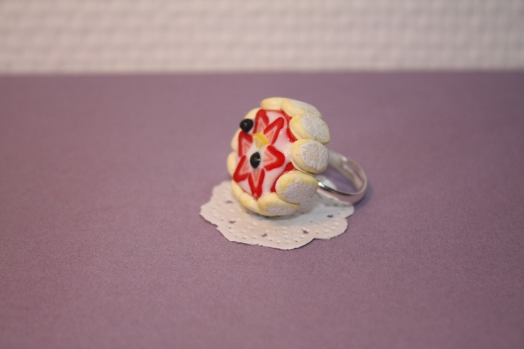 strawberry, cake, charlotte, jewelry, ring, yummy jewelry