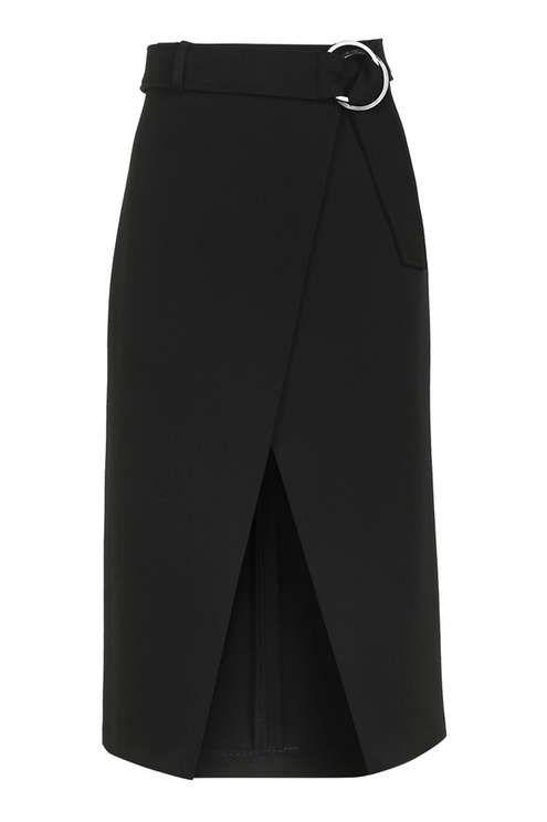 Belted Wrap Midi Skirt