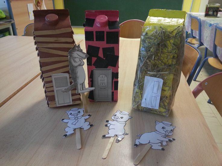 """Travail autour de l'oralbum """"Les trois petits cochons"""" en classe de PS. Création d'une boîte à histoires sur le thème."""