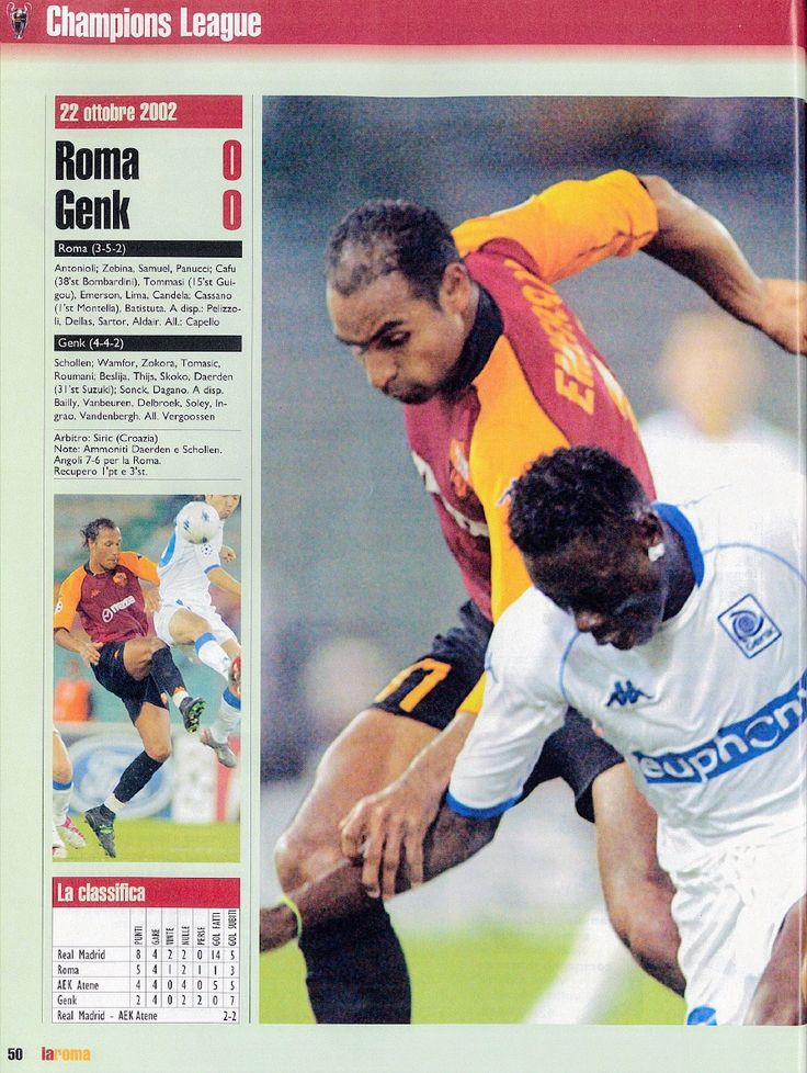 AS Roma 0 Genk 0 in Oct 2002 at Stadio Olimpico. Action from the Champions League group game.