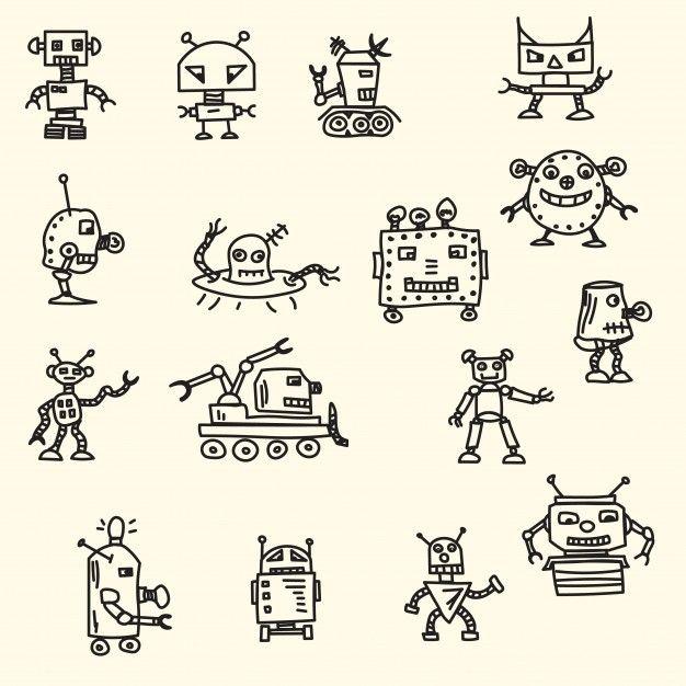 Doodle handrawn robots Ilustração vetorial Vetor grátis