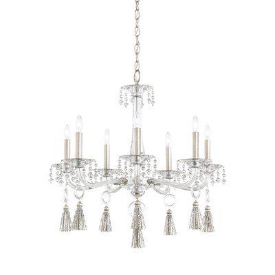 Schonbek Tassau 7 Light Candle Style Chandelier Crystal Clear