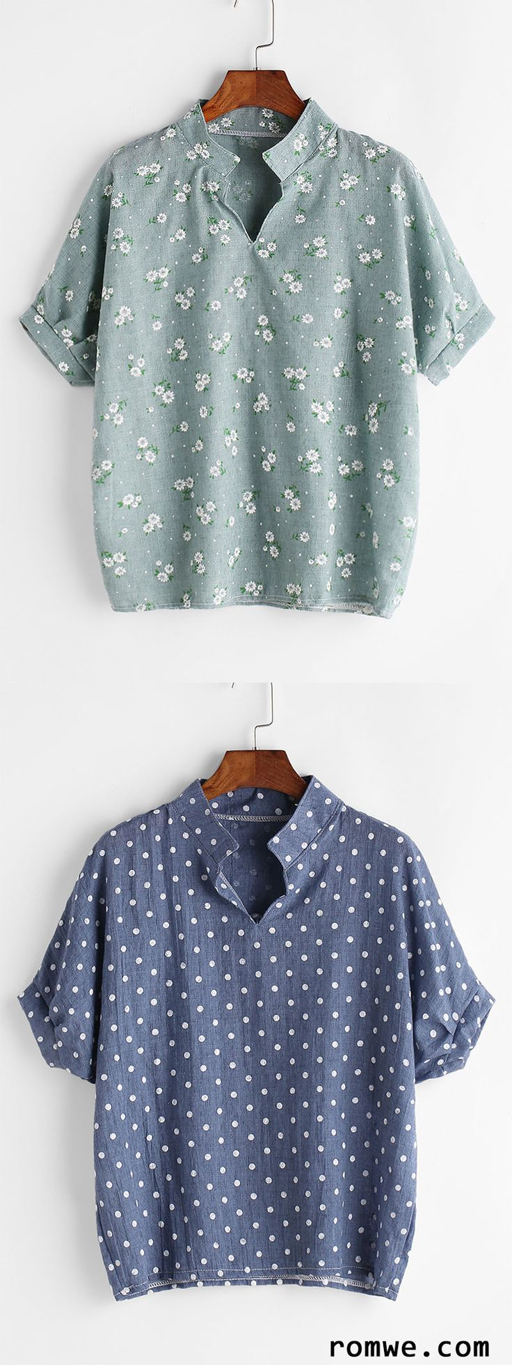 Stand Collar Blouse Designs Images : Stand collar calico print blouse romwe women style