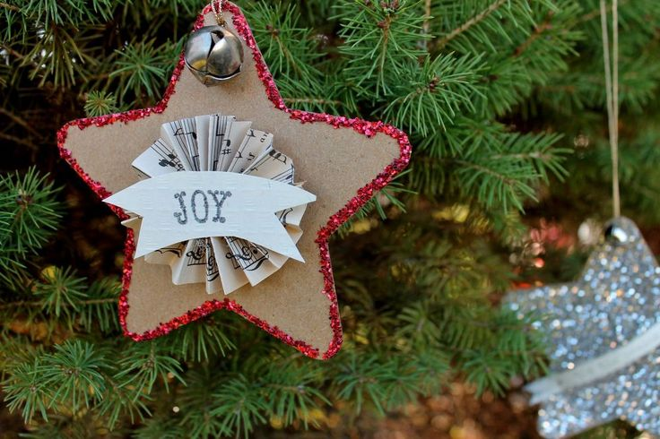Vintage Upcycled Cardboard Star Ornaments - Add some vintage charm to your Christmas tree this year with these simple, but attractive star ornaments. [media_id:...