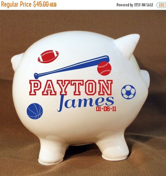 Shop Early Sale  5.5 Personalized Piggy Bank Sports by LEVinyl