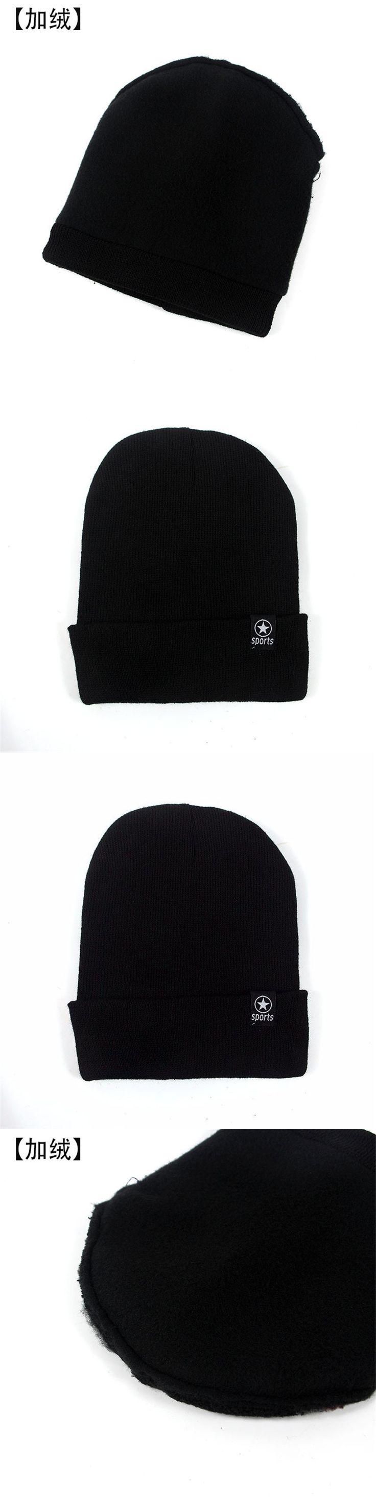 Casual Star Sports Black Beanies Knitted Hat Men's Winter Hats For Men Caps Warm Fur Winter Beanie Fleece Knit Ski Bonnet Hat