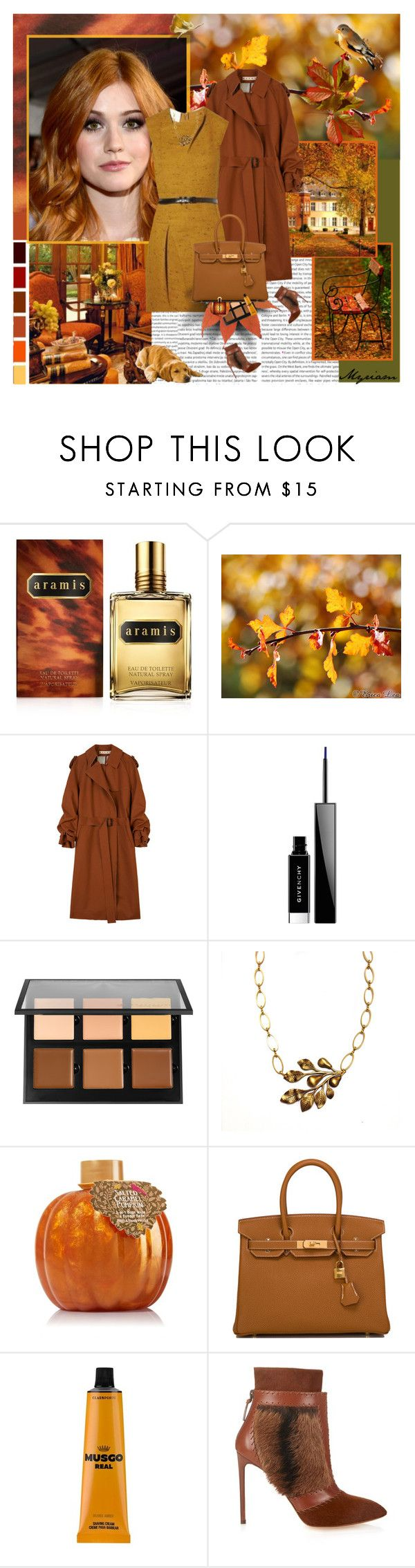 """Dressed in gold and Carmine. the autumn came"" by lovemeforthelife-myriam ❤ liked on Polyvore featuring Oris, Aramis, Marni, Givenchy, Anastasia Beverly Hills, Hermès, The Real Shaving Company, Francesco Russo and Yves Saint Laurent"