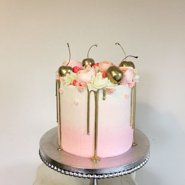 Gold Drip Pink Ombr 233 Cake With Gilded Cherries And