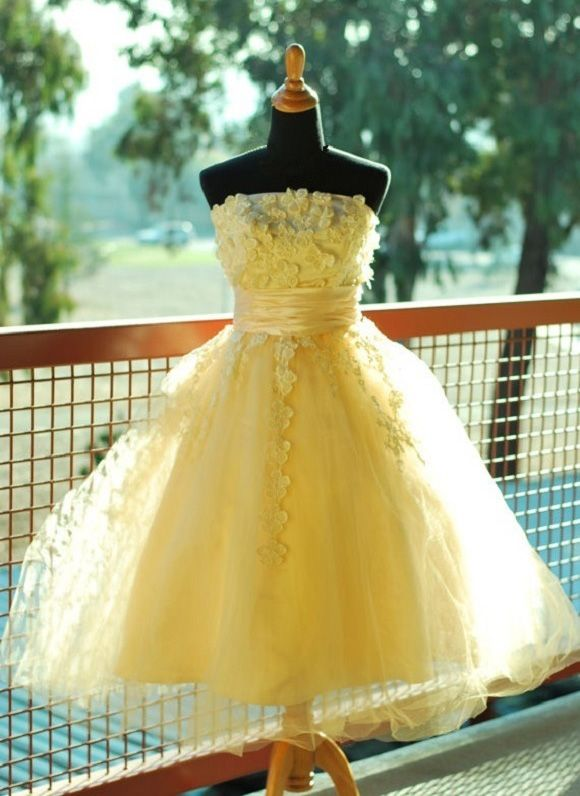 Tulle Homecoming Dress,Yellow Homecoming Dress,Strapless Homecoming Dress,Short Prom Dress,Flower Prom Dresses