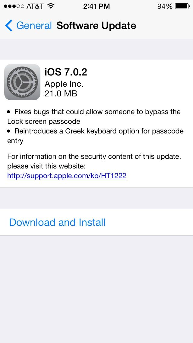 Apple iOS 7.0.2 Fixes Lock-Screen Bug. If you just got iOS 7, there's another update you need. If you use a passcode to unlock your iDevice, this update fixes a bug that bypasses the lock screen, so anyone with the smarts to do it could get past your lock screen.