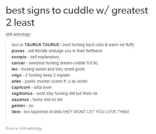 Best Signs To Cuddle W Greatest 2 Least Yas Zodiac
