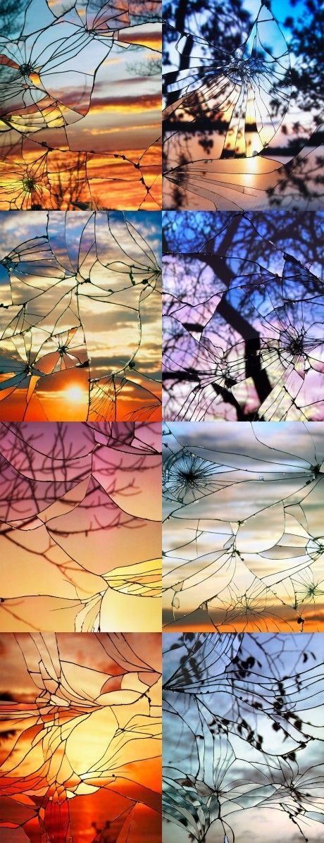 Sunsets reflected in broken mirrors http://www.thisiscolossal.com/2014/04/photographs-of-sunsets-as-reflected-through-shattered-mirrors-by-bing-wright/