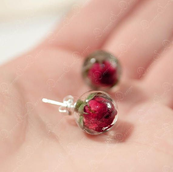 Echte Rose Ohrringe Stud, botanischen Schmuck, Rose in Harz, botanische Rose Ohrringe Pflanzen, Rose Blume Schmuck, Geschenk für ihre Natur Ohrringe