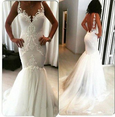 2016 Sexy Wedding Dresses Mermaid Backless White/Ivory Tulle Bridal Gowns Custom