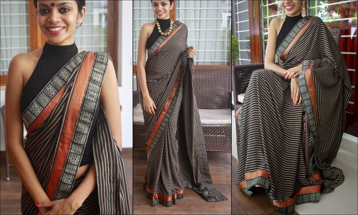 https://flic.kr/p/9WUkRX | Z 16 | Rs. 1860 Black and beige striped saree. Borders - black and silver, red and gold Blouse- black or maroon only 1 piece