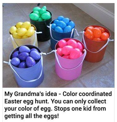 easter basket colors AWESOME EASTER EGG HUNT IDEA ~ COLOR COORDINATED EGG HUNT IDEA