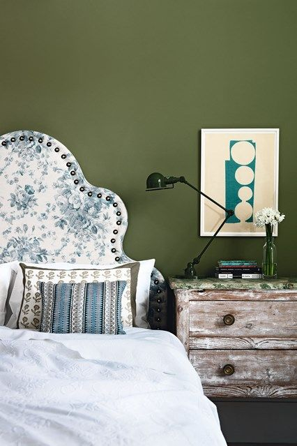Olive Green Bedroom with Floral Headboard in bedroom design ideas - fresh country bedroom with chintz headboard, wooden bedside table, single divan bed.