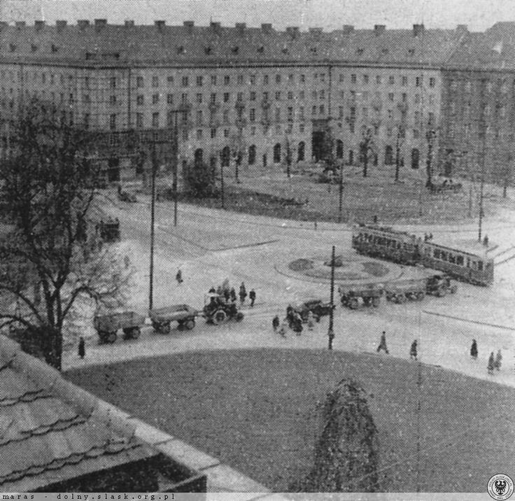 Plac Kościuszki, widok na południowo-zachodni narożnik.Lata 1956-1957