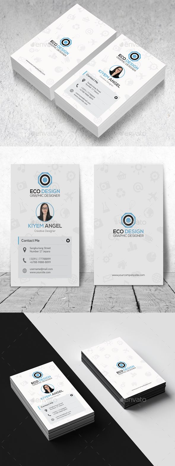 Clean #Vertical Business Card - Corporate #Business #Cards Download here: https://graphicriver.net/item/clean-vertical-business-card/19250877?ref=alena994