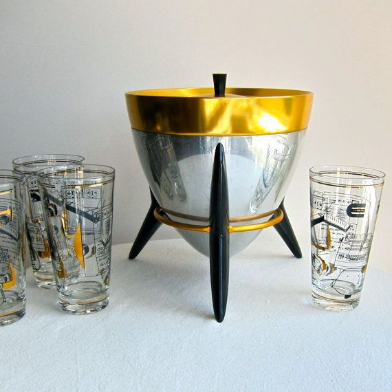 Vintage Aluminum Ice Bucket on Stand circa by BarkingSandsVintage