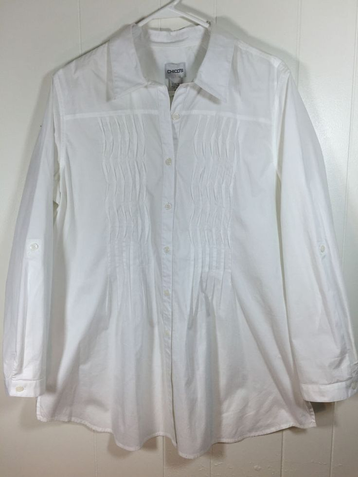 Women's Chico's 3 L XL White Cotton Shirt Pintuck Long Roll Sleeve Button Blouse
