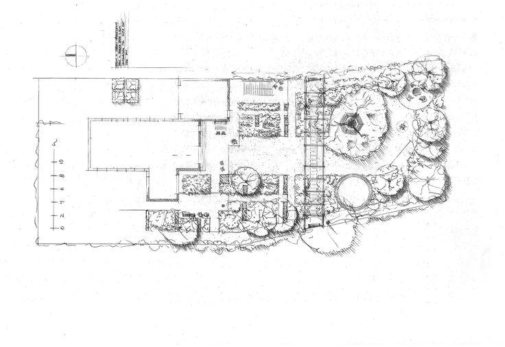 Håndtegnede skitser, illustrationer og målfaste plantegninger udføres, for at visualisere intentionerne med den nye have.
