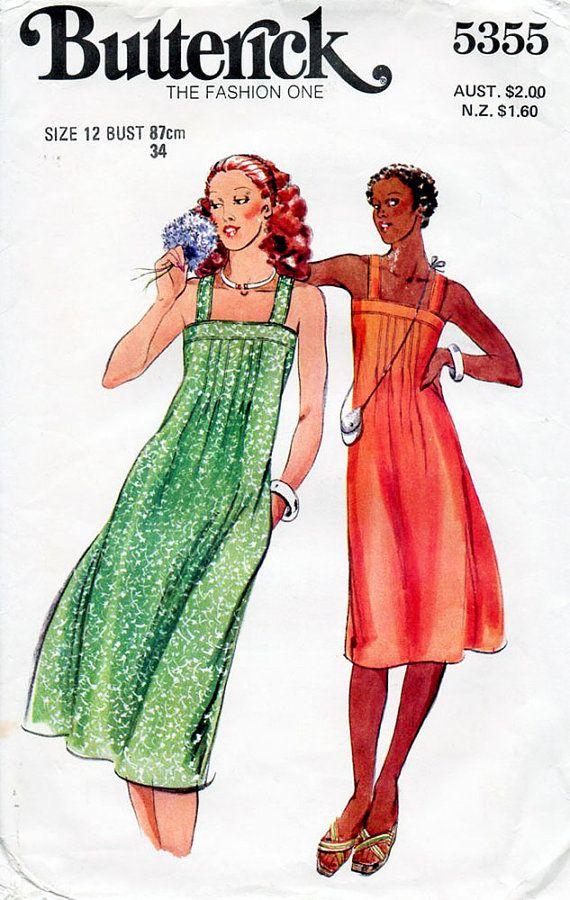 1970s Sun Dress Pattern Butterick 5355 Vintage by BessieAndMaive