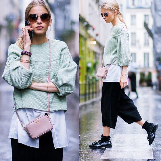 Caro Daur - Zara Shoes, Topshop Culotte, Prada Bag, Chloé Sunnies, Elisabetta Franchi Sweater, Topshop Socks - Paris Fashion Week