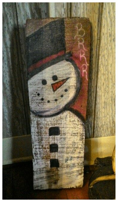 Another Snowman I drew on old wood we had for a Christmas Decoration 2015...(The Barnes)...<3