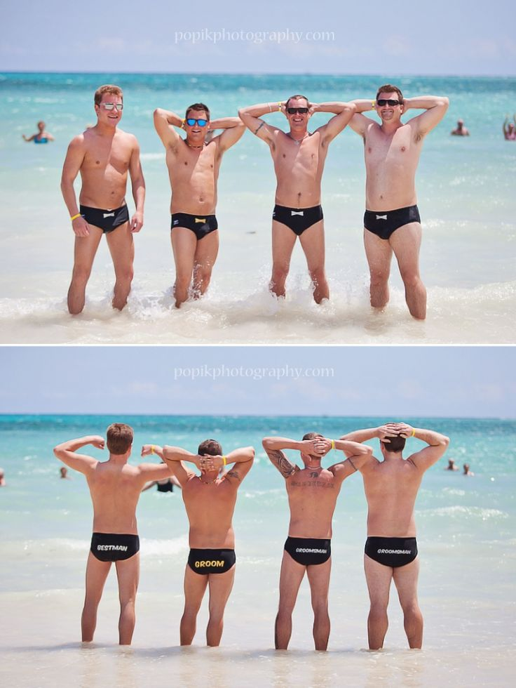 Groom and Groomsmen in Speedo's on the beach. Lol this would be so funny. The guys in my wedding would not do this. But it's funny